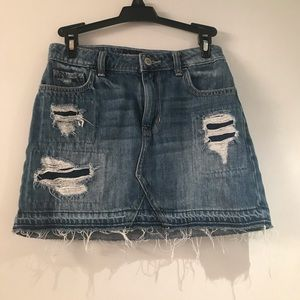 Denim Distressed Miniskirt